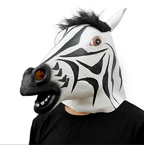 Zebra Face Paint Costume (QTMY Latex Rubber Animal Open Mouth Zebra Horse Mask for Halloween Party Costume)