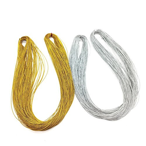(Seventopia Silver Metallic Cord Braided Trim Gold Thin for Ornaments 1 mm Jewelry Thread Ribbon - 109)