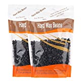 Korlin Hard Wax Beans for Face, Underarms, Brazilian, Bikini Hair Remover 10.6 Ounce, Pack of 2 (Black)