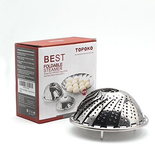TOPOKO Vegetable Steamer Basket, Fits Instant Pot Pressure Cooker 5/6 QT and 8 QT, 18/8 Stainless Steel, Folding Steamer Insert For Veggie Fish Seafood Cooking, Expandable to Fit Various Size Pot ()