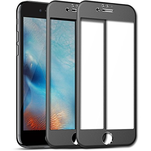 iPhone 6 6S Screen Protector, SmartLegend [2-Pack] 9H Premium HD Clear Full Coverage Tempered Glass [Rounded Edge] Screen Protector Films with Metal Frame Protection for iPhone 6/6S - - Plastic Glasses Frames Metal Vs