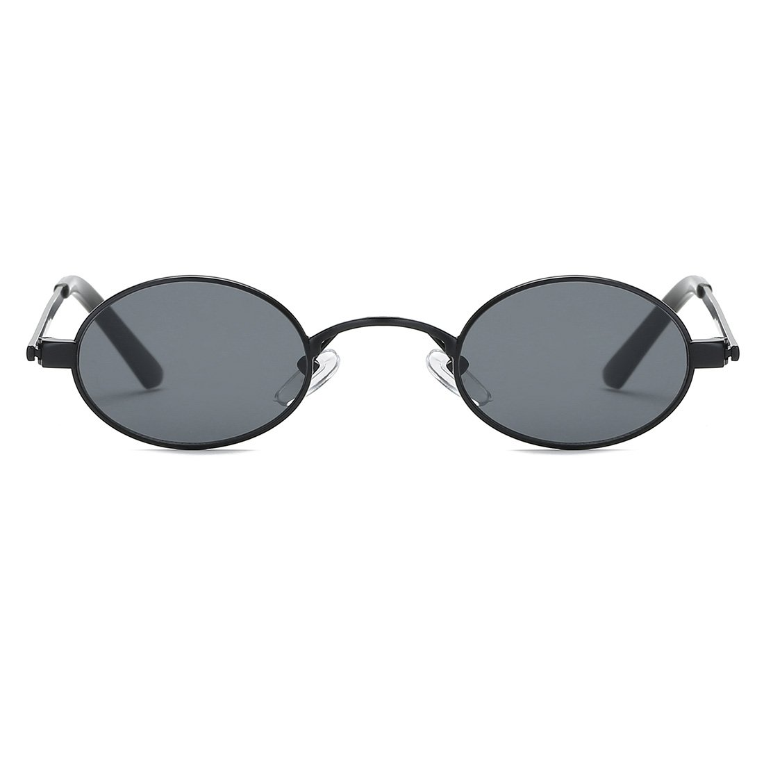75614a2662d Amazon.com  Kimorn Sunglasses Small Round Metal Frame Oval Candy Colors  Unisex Sun Glasses K0577 (Black)  Clothing
