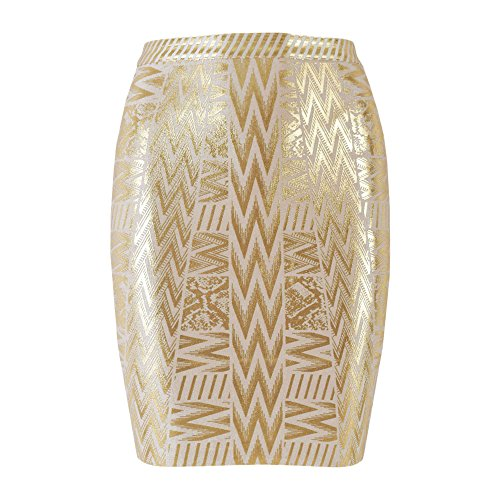 HLBandage Leather Metallic High Waist Bandage Skirt(L,Gold)