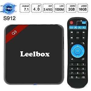 2018 Leelbox Q3 4K Android 7.1 TV Box 64Bit S912 Octa-core CPU 2GB Ram+16GB Rom 1000M lan Supporting 4K (60Hz) Full HD/ H.265 /2.4G+5G Dual-Band WiFi/BT 4.0