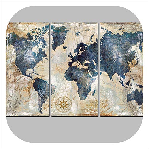 (colorful-space 3Panel Watercolor World Map Modular Painting Posters and Prints on Canvas Scandinavian Cuadros Wall Art Picture for Living Room,20X40cmx3 Unframed,PT1766)
