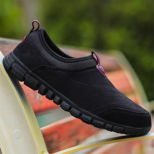 Scurtain Womens Wide Slip-On Suede Outdoor Non-Slip Sneakers Casual Elderly Walking Shoes Black o3UV3YLC
