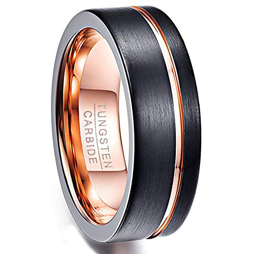 Vakki Classic 8mm Polished Finish Wedding Rings Black Matte Brushed Finish Flat Edge Tungsten Bands Size 8