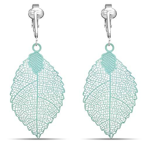 Lovely Victorian Filigree Clip On Earrings for Women Clip-ons, Lightweight Teardrop Leaf Dangle (Light Sea Green) ()