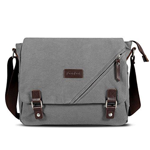 ibagbar Canvas Messenger Bag Shoulder Bag Laptop Bag Computer Bag Satchel Bag Bookbag School Bag Working Bag for Men and Women Gray Large
