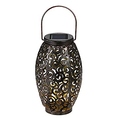 Tomshine Solar Lantern Lights Hanging Lamp Outdoor LED Solar Light Pathway Mental Waterproof for Patio Courtyard Garden