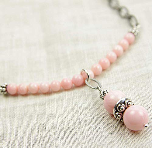 Pink Coral Necklace Sterling Silver Beaded Bar 35th Wedding Anniversary