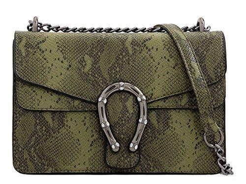 Snakeskin Leather Bag Shoulder Pattern Khaki Faux Detail Horseshoe Women's PwWqCxSp