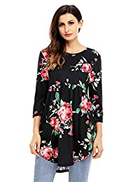 Fantasy Star Women Casual Pink Babydoll Floral Tunic Top