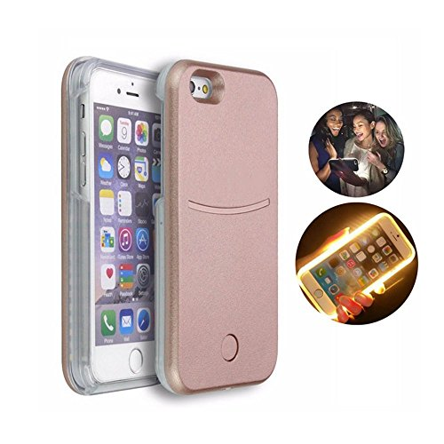 Iphone 6/6s Plus 5.5inch Illuminated Phone Case made for taking Bright Selfies (Rose Gold)