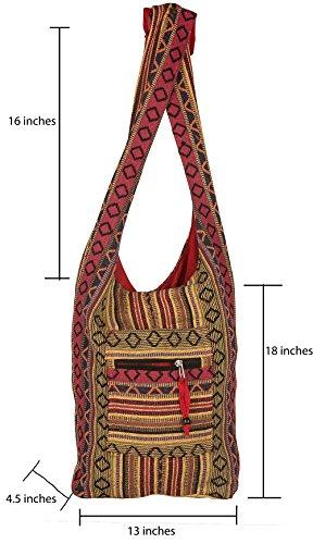 Tribe Azure Red Hobo Messenger Shoulder Bag Large Roomy School Sling Travel Camping Beach Cross body Photo #4