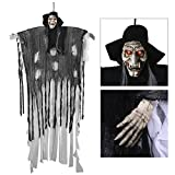 6-Ft Animated Halloween Props, YUNLIGHTS Voice-Activated Animated Skeleton Ghost with Glowing Red Eyes and Great Sound Effect- 34.6 Inch arm wide Animated Halloween Props spirits