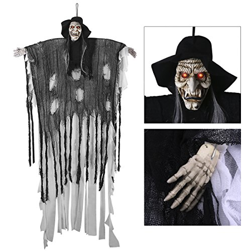 Scary Halloween Witches (6-Ft Animated Halloween Props, YUNLIGHTS Voice-Activated Animated Skeleton Ghost with Glowing Red Eyes and Great Sound Effect- 34.6 Inch arm wide Animated Halloween Props spirits)
