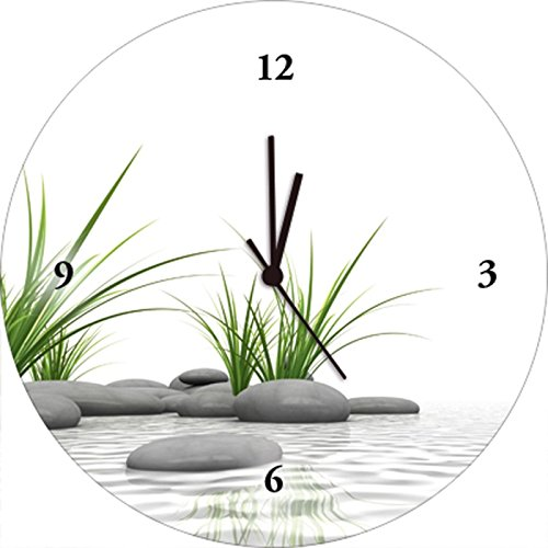 Artland Qualitätsuhren I Funk Wanduhr Designer Uhr Glas Funkuhr Größe: 35 Ø Zen Stein Weiß J4IP