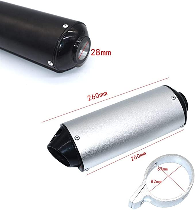 Color : Black 32mm 28mm 32mm 38mm 51mm Moto Silencieux d/échappement Tuyau for 125cc 150cc 160cc Dirt Pit Bike
