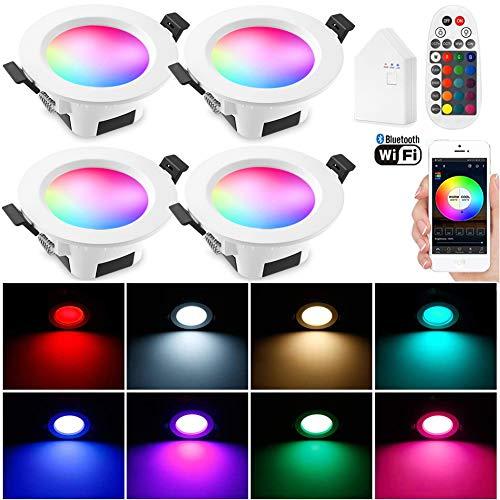 4 focos LED empotrables con WiFi, Bluetooth, 9 W, 230 V, RGBWC empotrables, focos empotrables, 16 millones de colores…