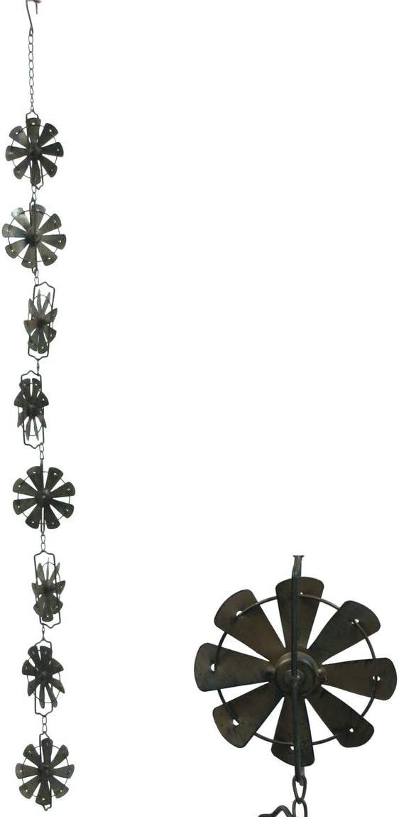 TG,LLC Treasure Gurus Rustic Metal Rain Wind Activated Windmill Chime Hanging Yard Art Spinner Patio Garden Decor