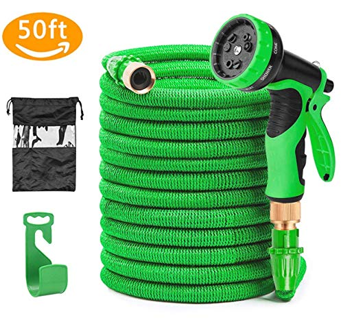 """Beexcellent Garden Hose 50 ft Expandable - Fits 3/4"""" & 1/2"""" Outside Tap - 2019 New Kink Free Lightweight Flexible Durable With 9 Functions"""
