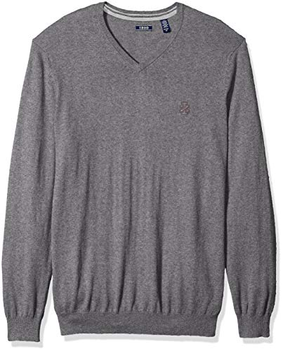 (IZOD Men's Big and Tall Premium Essentials Solid V-Neck 12 Gauge Sweater, New Carbon Heather, 2X-Large)
