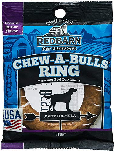 REDBARN Peanut Butter Chew-A-Bulls Ring Dog Chew, 20 Pack