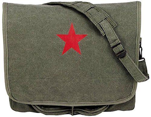 (Olive Drab Red China Star Canvas Paratrooper Shoulder Bag)