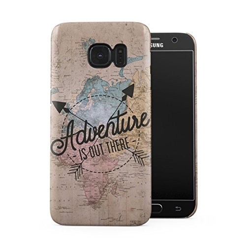 Exploring World Map Travel Trip Adventure is Out There Wanderlust Plastic Phone Snap On Back Case Cover Shell Compatible with Samsung Galaxy S7
