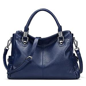 S-ZONE Women's Vintage Genuine Leather Tote Shoulder Bag Top-Handle Crossbody Handbags Ladies Purse (Blue)