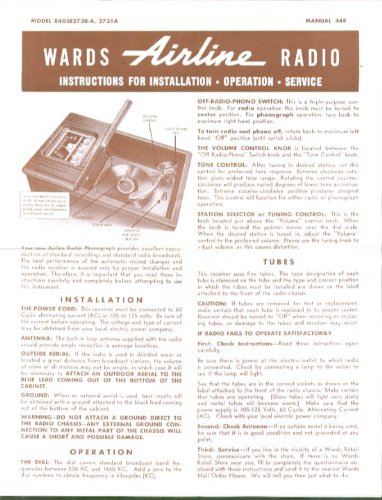 Wards Airline Radio & Turntable Instructions 1940s ()