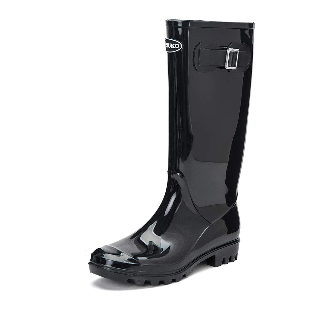 Black DKSUKO Women's Rain Boots Waterproof Knee High Wellington Boots