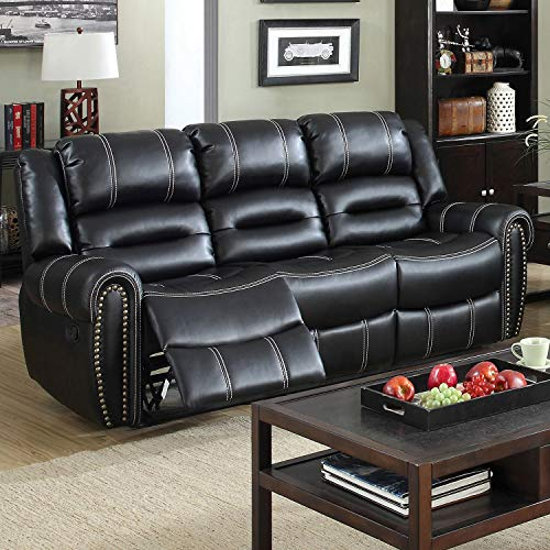 (Furniture of America Dylan Black Leather Reclining Sofa)