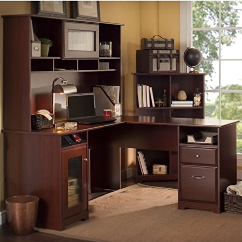 Cabot L Shaped Desk with Hutch and 6 Cube Bookcase by Bush Furniture