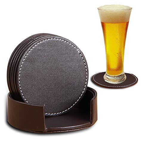 PUSU Coaster for Drinks with Holder,Set of 6 PU Leather Round Drink Coasters Coffee Tea Cup Pads Table Mat for Home/Office/Kitchen/Bar Protect Your Furniture from Scratch/Stains (Brown)