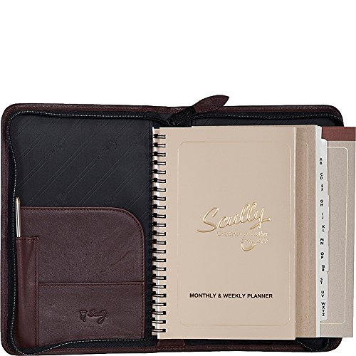 Scully Leather Zip Weekly Planner (Chocolate) by Scully