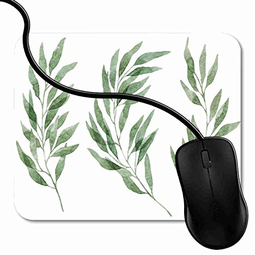 Mouse Pad Watercolor Eucalyptus Leaves and Branches fors Laurels Compositions Mouse Mat for Computer Laptops, Customized Mouse Pad for Office 7X8inch 1X1218