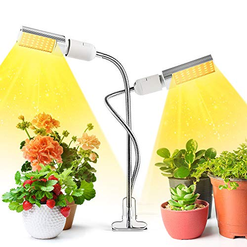 LED Grow Light, TROPRO 45W Full Spectrum Grow Lamp for Indoor Plant, Dual Head Gooseneck Plant Light with Replaceable Bulb, Double Switch, Professional for Seedling Growing Blooming Fruiting