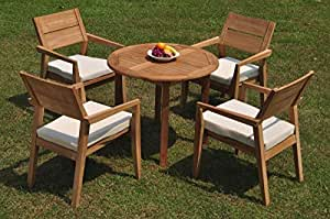"WholesaleTeakFurniture Grade-A Teak Wood 4 Seater 5 Pc Dining Set: 36"" Round Table 4 Vellore Stacking Arm Chairs #WFDSVL31"