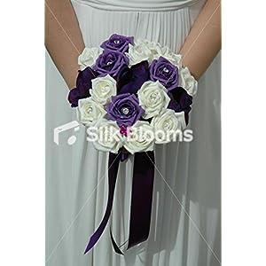 Large Purple & Ivory Rose & Anemone Bridesmaid Bouquet Flowers 116