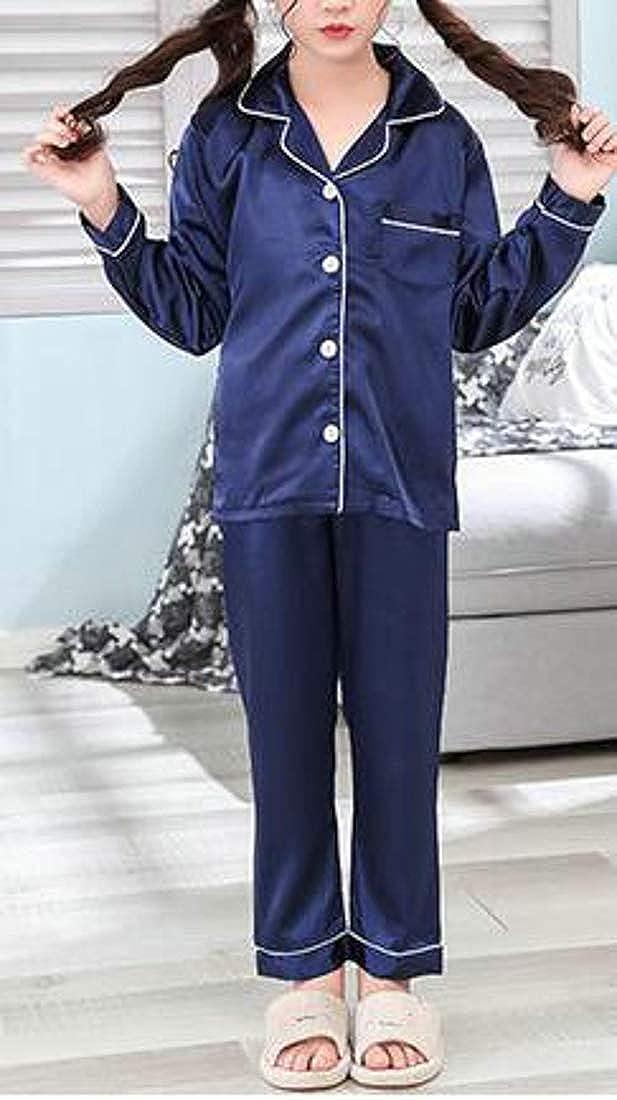 Hajotrawa Girls Long Sleeve Lounge Shirt Sleepwear 2 Pieces Pajama Sets