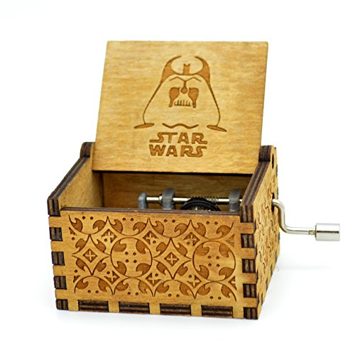 Star Wars Music Box- 18 Note Mechanism Antique Carved Wooden Music Box Crafts Melody Castle in Hand(Star Wars) by Sooye