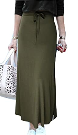 4162ecb72f GAGA Women's Slim Drawstring High Waist Long Slit Maxi Skirts Army Green XXS
