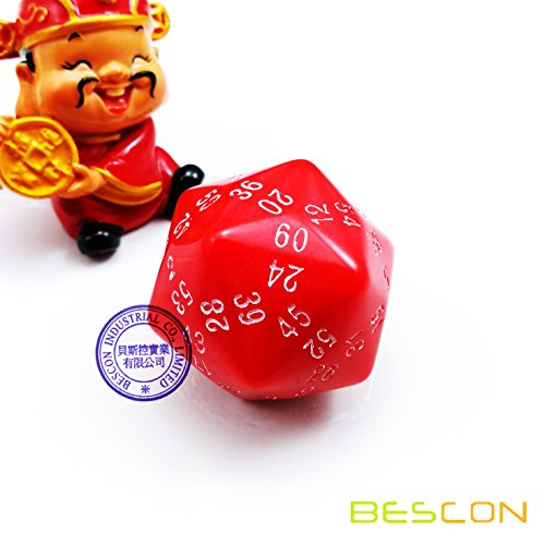 Bescon New Style Sixty-Sided 60 Sides Dice  60-Sided D60 35mm Large Gaming Dice - Opaque Red Colour with White Numbers