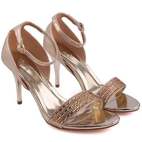 Unze Mujeres Jollity Tassel Detalle Bajo Mediados de Alto Talón Partido Prom Reunión Brunch Carnaval Boda Tarde Sandalias Talones Zapatos Uk Tamaño 3-8 Gold
