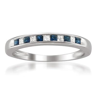 d97d610d40c42 La4ve Diamonds 14k White Gold Princess-Cut Diamond and Blue Sapphire  Wedding Band Ring (1/3 cttw, HI, I1-I2)