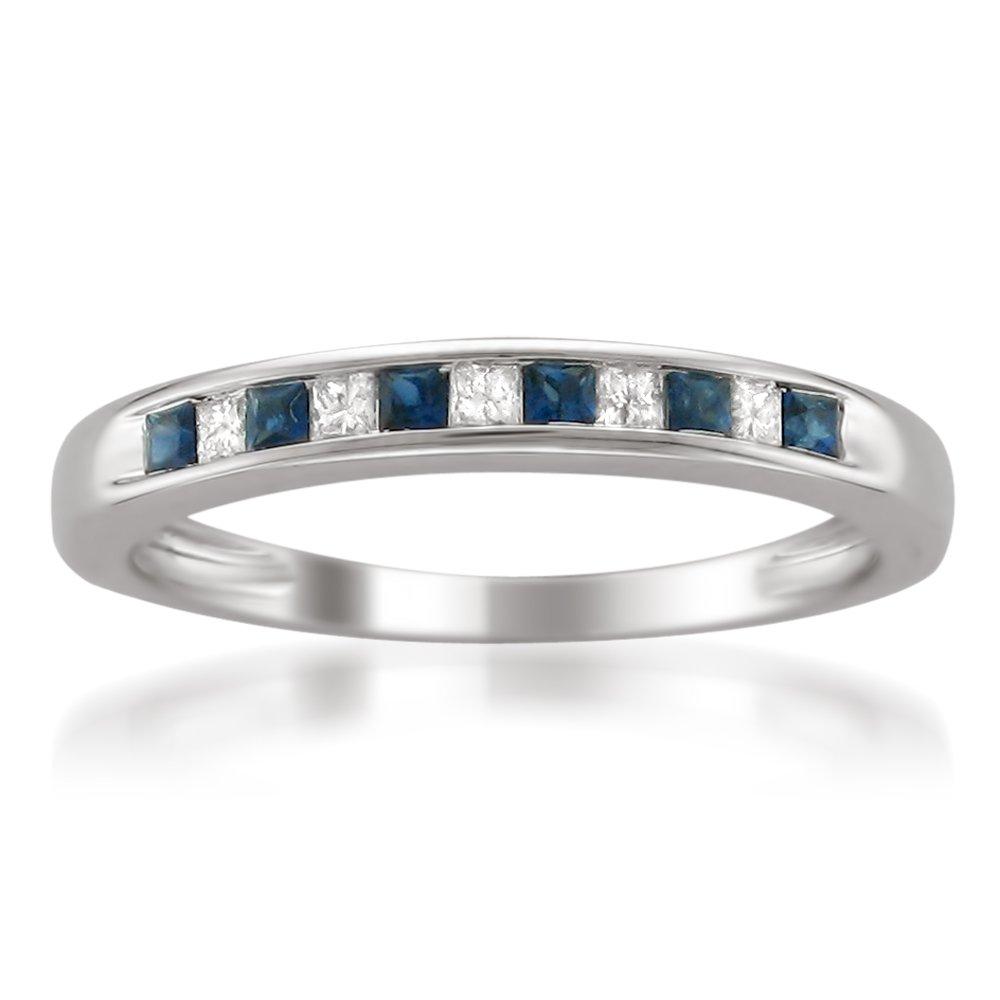 14k White Gold Princess-cut Diamond and Blue Sapphire Wedding Band Ring (1/3 cttw, H-I, I1-I2), Size 4.75