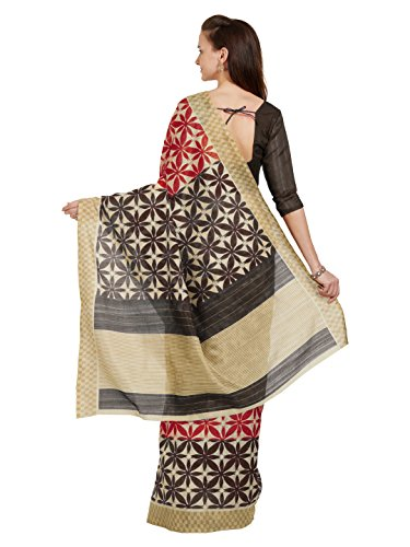 with Fashion Mirchi Beige Unstitched Printed Brown Beige Red Saree Indian Brown 5363 Bhagalpuri Blouse Red Women's Fabric YdxdqAB