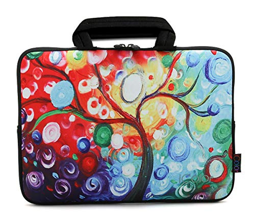 ICOLOR Colorful Tree 11.6 12 12.1 12.2 Inch Neoprene Laptop Sleeve Carrying Bag,Protective Notebook Chromebook Ultrabook Case Cover with Handle Fit Dell HP Samsung Google Acer Lenovo Asus(IHB12-17)